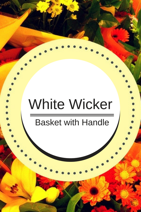 White Wicker Basket with Handle