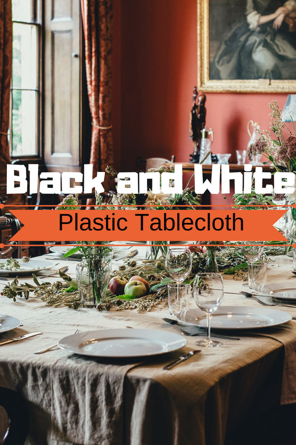 Black and White Plastic Tablecloth