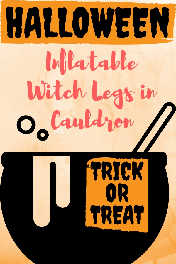 Inflatable Witch Legs in Cauldron