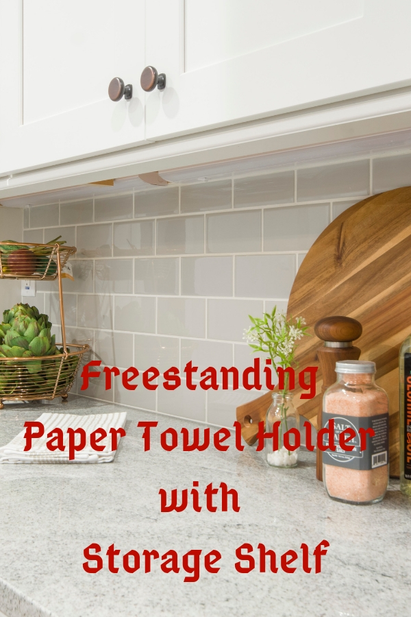 Freestanding Paper Towel Holder with Storage Shelf