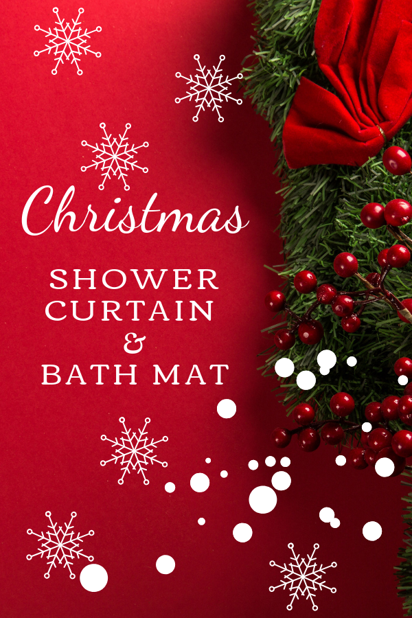 Christmas Shower Curtain Sets with Rugs