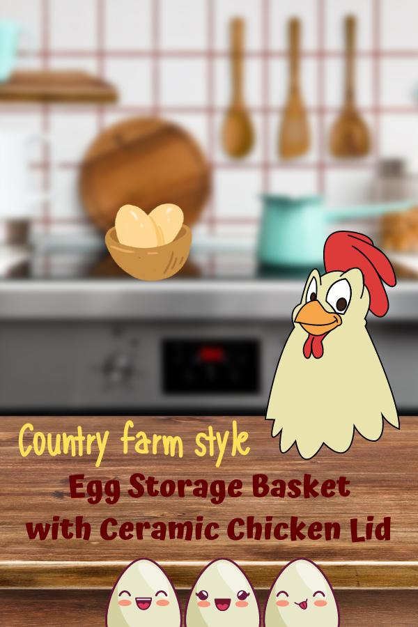 metal egg basket with ceramic chicken lid
