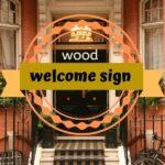 wood welcome sign with interchangeable seasonal