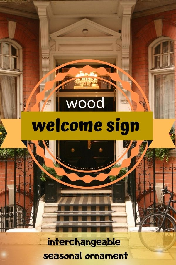 Wood Welcome Sign with Interchangeable Seasonal Ornaments