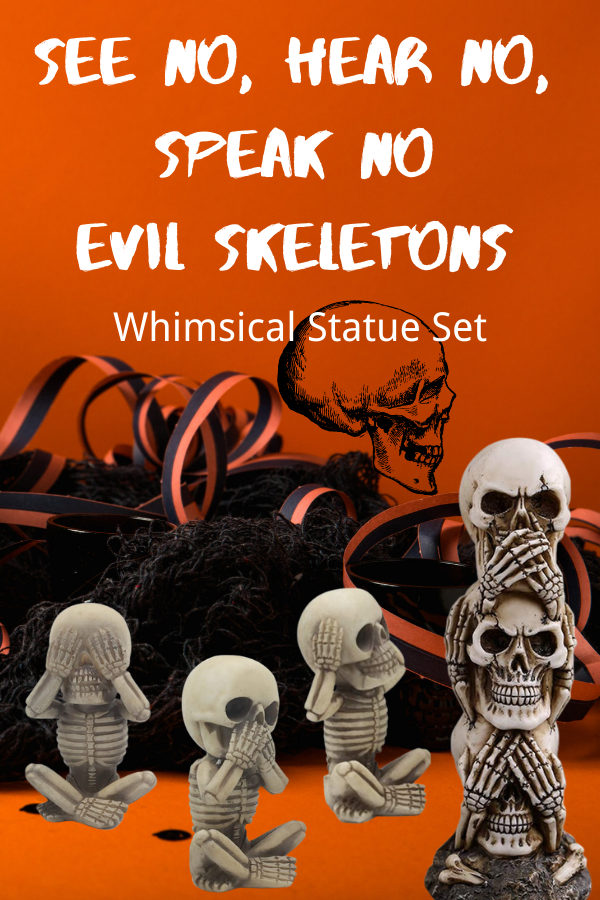 See Hear Speak No Evil Skeletons Statue Set