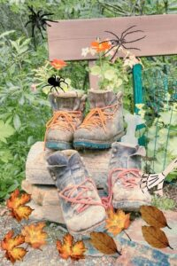outdoor halloween decor with boots