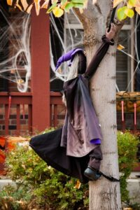 witch hang on tree halloween outdoor decoration